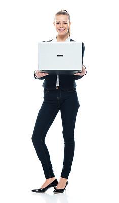 青年女人,女商人,商务休闲,白色背景,使用电脑,白色人种,衣服,电子邮件,彩色运动茄克,背景分离