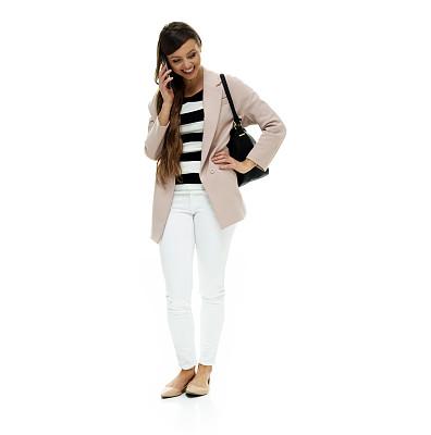 零钱包,青年女人,手机,白色背景,外套,拿着,白色人种,外衣,衣服,彩色运动茄克