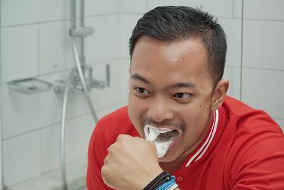 男人,东南亚,可爱的,口腔卫生,健康保健,清新,背景分离,牙医,一个人,人的牙齿