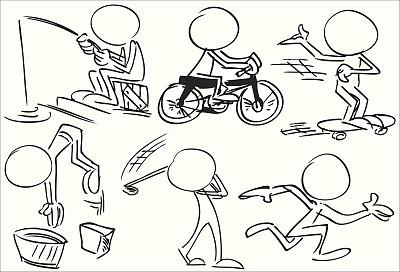 运动,儿童,自行车,艺术,球,讽刺漫画,说话,设计,跳