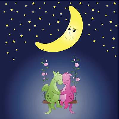 可爱的,浪漫,月亮,龙,夜晚,玫瑰,图像,青少年,动物,爱
