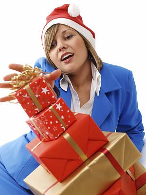 礼物,圣诞节,商务,背景分离,边框,肖像,一个人,女人,色彩鲜艳,青年女人