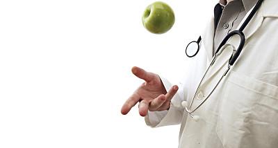 医生,苹果,健康保健,专业人员,听诊器,背景分离,食品,一个人,营养学家,沟通
