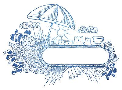 夏天,草图,牡蛎,无人,波浪,乱画,遮阳伞,空的,云景