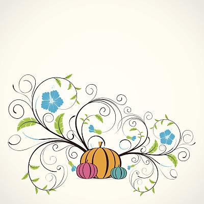 节日,仅一朵花,矢量,叶子,绘画插图,南瓜,卡通,无人,有蔓植物