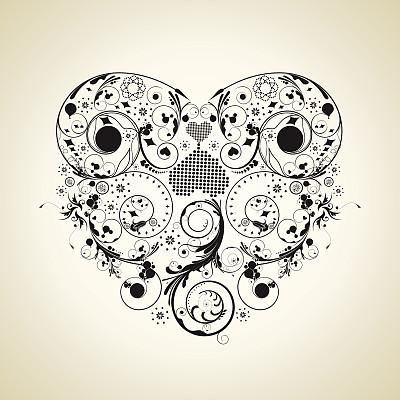心型,哥特式风格,矢量,背景,情人节,漩涡形,符号,绘画插图,情人节卡,花