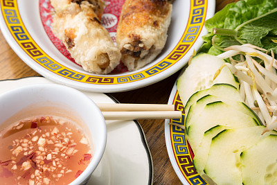 春卷,蔬菜,蘸料,点心,酱油,饮食,食品,甜食,水平画幅,亚洲