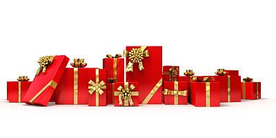 礼物,红色,大量物体,白色背景,全景,节日,圣诞装饰,背景分离,特写,庆祝