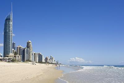 黄金海岸,澳大利亚,海洋,海滩,摩天大楼,图像,冲浪者天堂海滩,旅游目的地,昆士兰州,户外