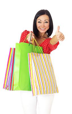 女人,人,白色背景,休闲装,白人,看,拿着,背景分离,零售