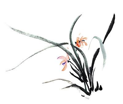 兰花,日文,墨水,画布,传统,美术工艺,日语,草,自然美,古典式