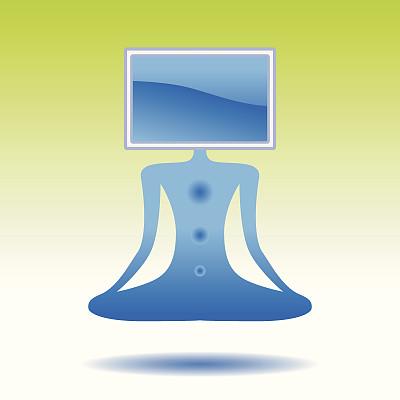 涅槃,数字化显示,概念和主题,数据,技术,计算机制图,瑜伽,显示器,思考,冥想