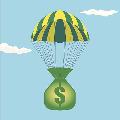 累积赌注,钱袋,公司企业,降落伞运动,概念和主题,高处,金融,矢量,天空,滑翔
