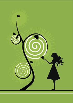 概念和主题,动机,矢量,叶子,彩色图片,垂直画幅,树,爱,生长,花