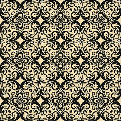 四方连续纹样,方形画幅,计算机制图,纹理效果,黑色,式样,新的,纺织品,亚麻布,设计