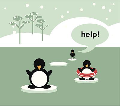 危险,自然,动物,企鹅,水,冬天,雪,协助,生存,融化