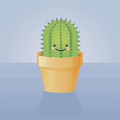 仙人掌,幸福,花盆,自然,室内,快乐,植物,尖利,肉质植物,微笑