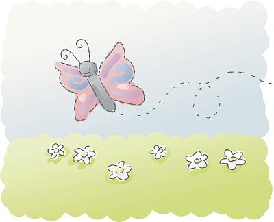 蝴蝶,水彩画颜料,昆虫,触角,儿童画,翅膀,户外,动物,潦草,雏菊