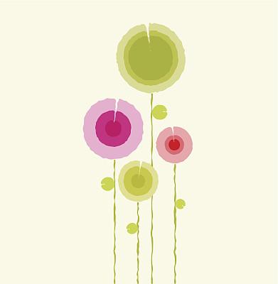 小的,园林,自然,垂直画幅,绿色,粉色,红色,多色的,圆形,生长