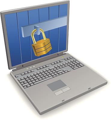 网络安全防护,安全,白色背景,计算机,背景分离,挂锁,安全的,关闭的,技术,图像