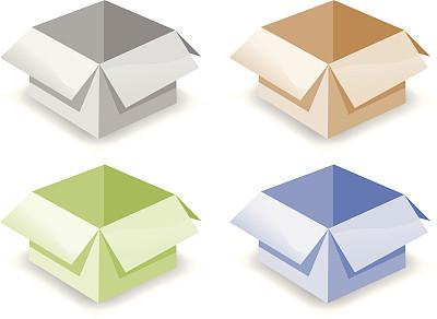 开着的,盒子,纸盒,商务,背景分离,绘画插图,无人,矢量,白色背景,图像