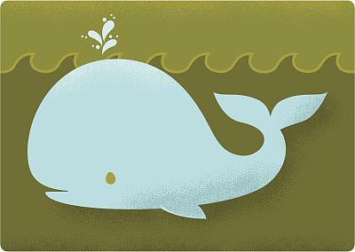 幸福,鲸,船,快乐,水,海洋,绘画插图,卡通,矢量,复古风格