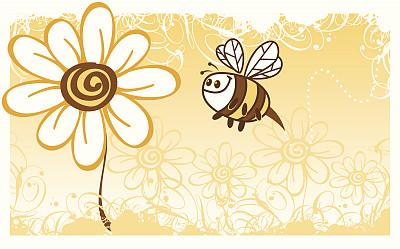 蜜蜂,仅一朵花,自然,昆虫,大黄蜂,绘画插图,卡通,无人,花,授粉