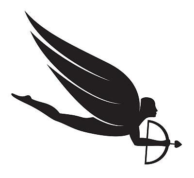 丘比特,人,白色背景,概念和主题,翅膀,背景分离,美术工艺,矢量,天使