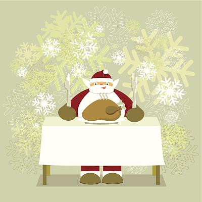 晚餐,节日,餐具,圣诞老人,幽默,矢量,背景,火鸡肉,美味
