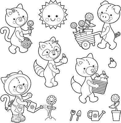 动物,可爱,园艺高手,猪,儿童,童话故事,工具,仅一朵花,矢量,着色
