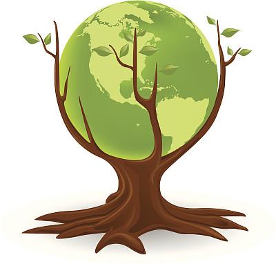 地球形,绿色,概念和主题,概念,环境,自然,枝,叶子,绘画插图,树