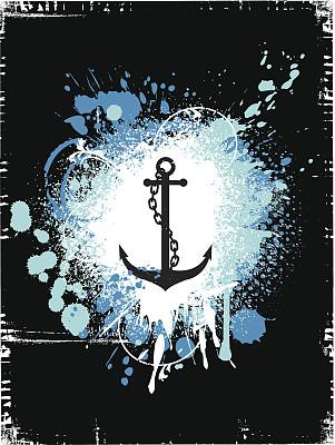 背景,锚,链,生活方式,船,纹理效果,墨水,蓝色,喷