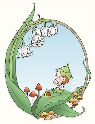边框,男孩,小精灵,铃兰,简单,动物,童话故事,儿童,坐,指着