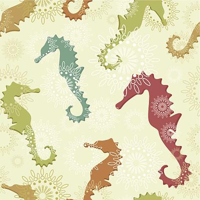 式样,海马,自然,动物,动物斑纹,多色的,古典式,海洋,背景,设计