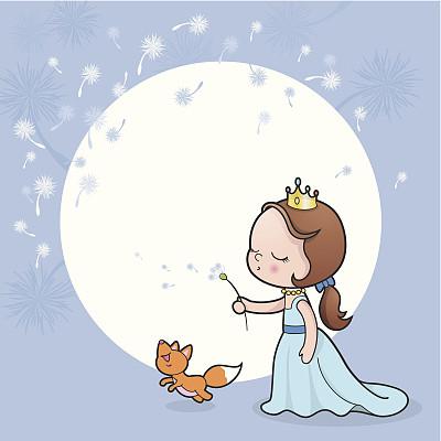 公主,蒲公英,可爱的,乐趣,纸牌,特色服装,简单,动物,童话故事,吹