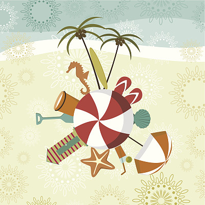 夏天,海滩,符号,河岸,海滩小屋,海星,概念和主题,凉拖鞋,矢量,度假