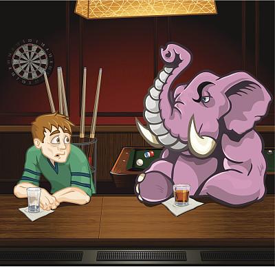 喝醉的,男人,粉红大象,饮食,饮料,含酒精饮料,餐巾,球,发狂的,担心