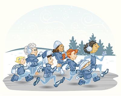 冬天,通道地毯,寒冷,连指手套,雪靴,运动,风,羊毛帽,慢跑,弯曲