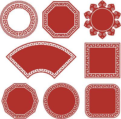符号,插画,春节,正方形,绘画插图,相框,方形画幅,边框,圆形