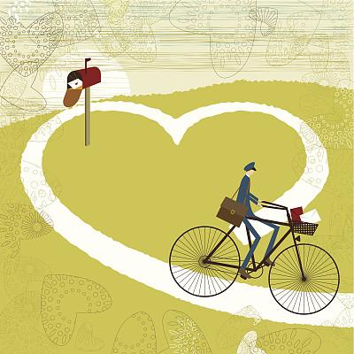 情书,浪漫,路,骑自行车,自行车,式样,背景,心型,爱,庆祝