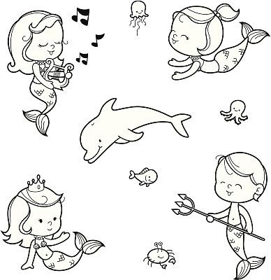 美人鱼,舞台,卡通,海豚,黑白图片,儿童,鱼类,王冠,水,着色