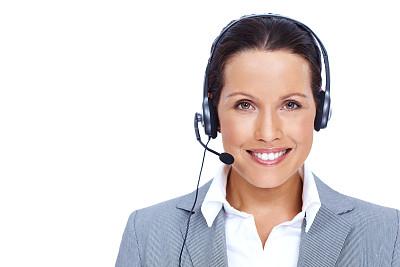 永远,客户服务代表,公司企业,人,白色背景,白人,电话机,前台,耳麦,打电话