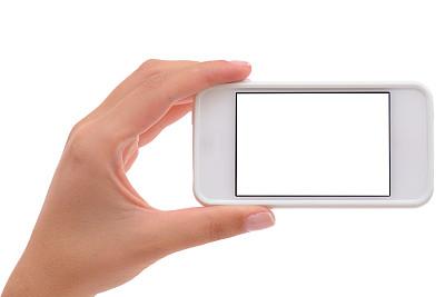 拿着,触摸屏,智能手机,黑屏,移动应用程序,手机,女人,手,发短信,白色背景