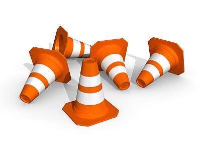 圆锥,五个物体,交通,商务,警告标志,背景分离,橙色,边界,色彩鲜艳