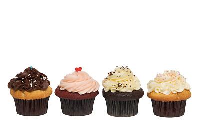 四个物体,纸杯蛋糕,美味,饮食,白色背景,巧克力,香草兰,复活节,生日蛋糕,背景分离