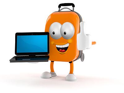 手提箱,三维图形,人,移动式,旅途,技术,水平画幅,做手势,包,度假