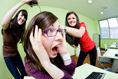 女孩,计算机实验室,技术,残酷的,恐怖,受害者,仅女人,办公室,坐
