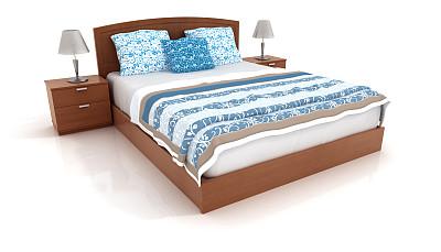 床,白色,分离着色,数字2,家具,酒店,白色背景,三维图形,无人,木制