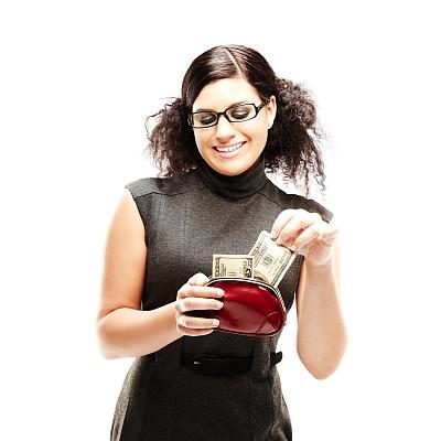 钱包,时装模特,女性,数,背景分离,肖像,从容态度,拿着