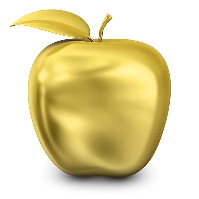 苹果,黄金,金色,三维图形,符号,方形画幅,计算机制图,形状,背景分离,绘画插图